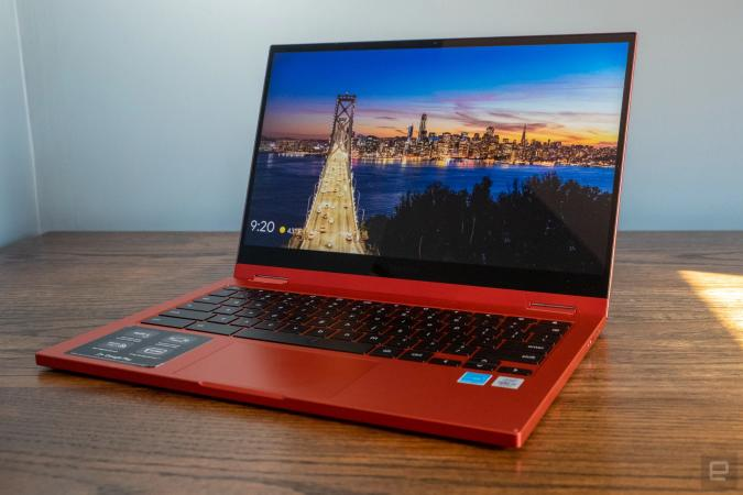 The Samsung Galaxy Chromebook 2 in red.