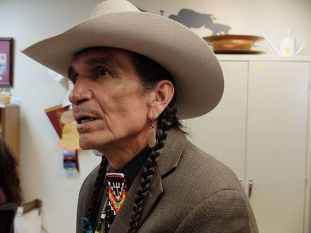 Tribal elder Tommy Christian, who lives on Montana?s Fort Peck Indian Reservation, speaks at an anti-trafficking conference at the Fort Peck Community College
