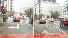 Shocking dashcam footage shows pedestrian hit by car