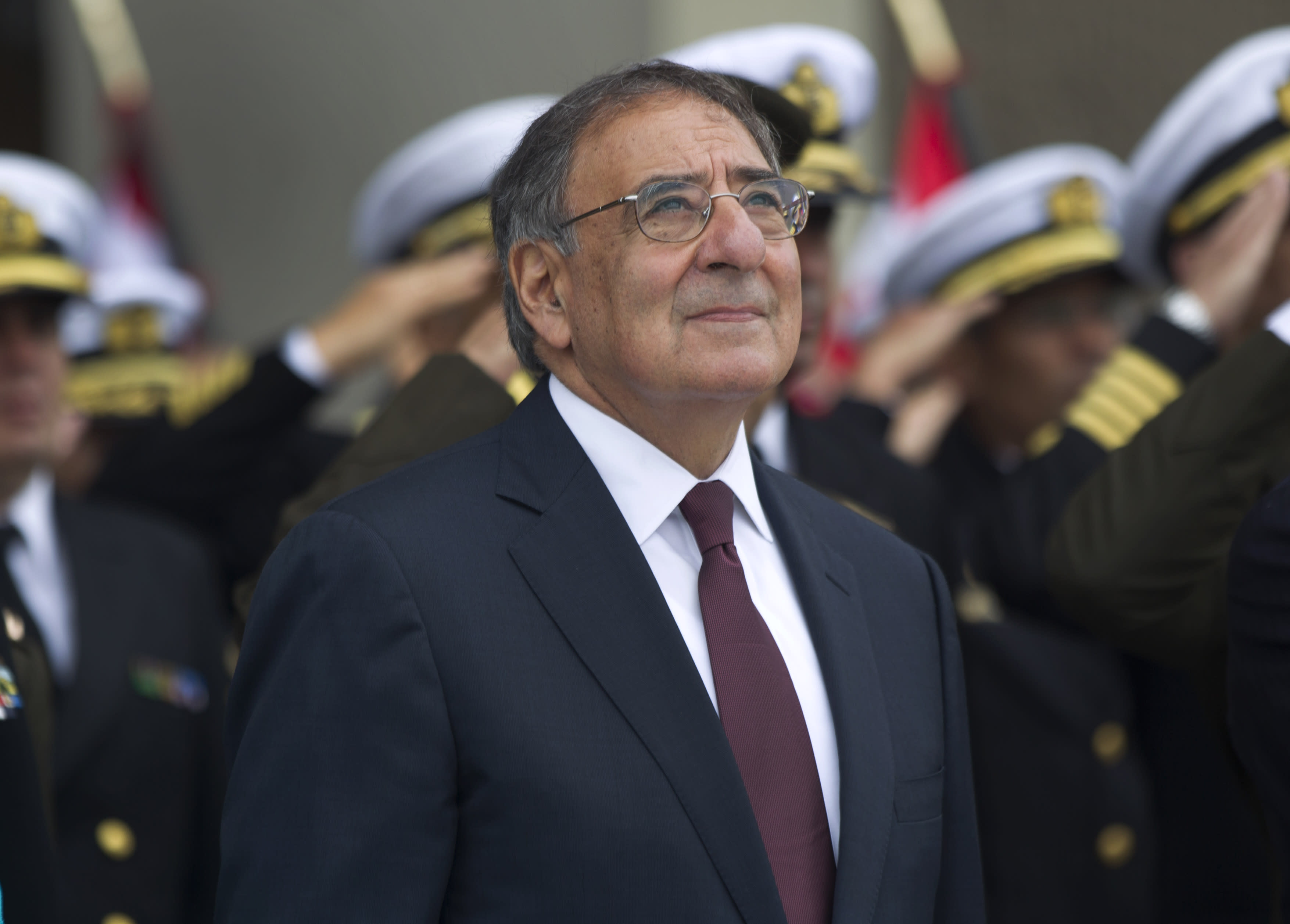U.S. Defense Secretary Leon Panetta attends a ceremony at army headquarters in Lima, Peru, Saturday, Oct. 6, 2012. Panetta is in Lima on an official visit for one day. (AP Photo/Martin Mejia)