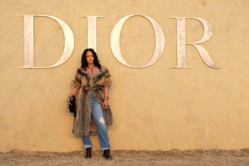 Rihanna Wore A Fur Jacket To Dior Show