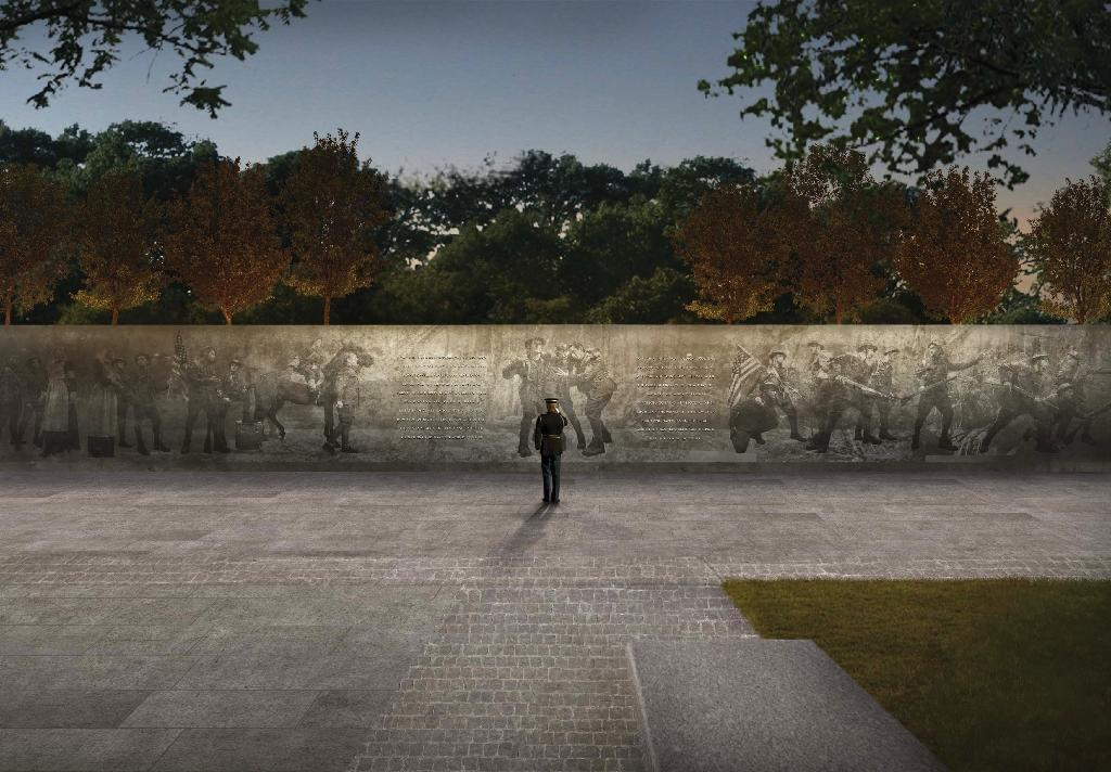 """Artist rendition courtesy of US World War I Centennial Commission, of the design of the World War I Memorial titled """"The Weight of Sacrifice"""" to be built in Washington DC (AFP Photo/HO)"""