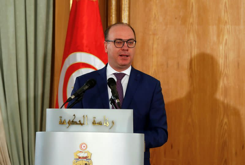 FILE PHOTO: Tunisia's Prime Minister Elyes Fakhfakh speaks during a handover ceremony in Tunis