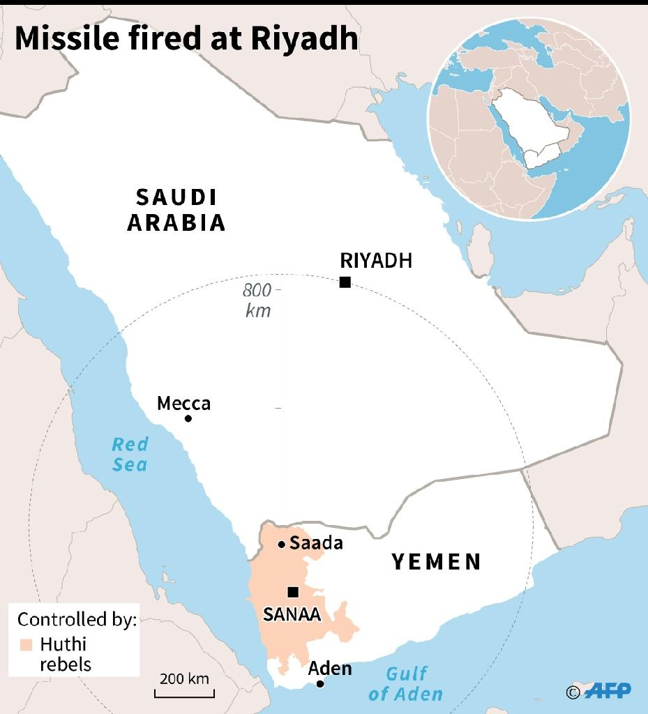 Map of Yemen and Saudi Arabia showing the estimated range of a missile fired by Huthi rebels and intercepted over Riyadh, according to Saudi authorities (AFP Photo/Laurence SAUBADU)