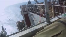 Gun battle at sea captured in viral video