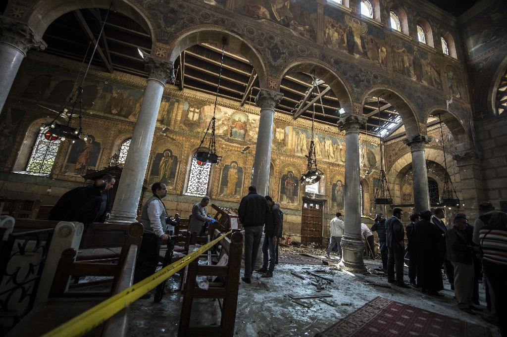 The pope will visit the Coptic church of Saint Peter and Saint Paul, which was hit by a bomb attack in December that killed 29 people (AFP Photo/KHALED DESOUKI)