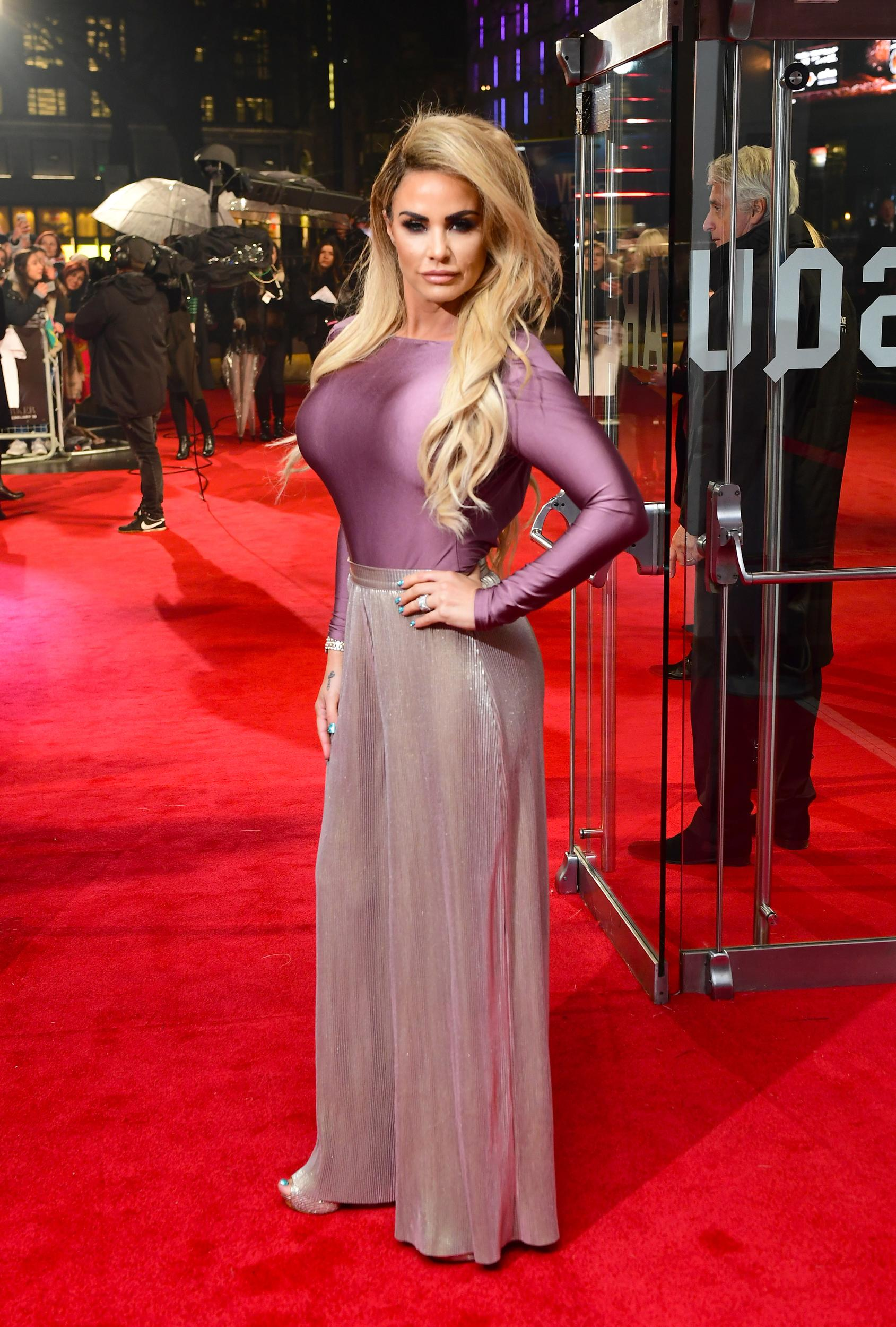 Katie Price arriving for the Fifty Shades Darker European Premiere held at Odeon Leicester Square, London.