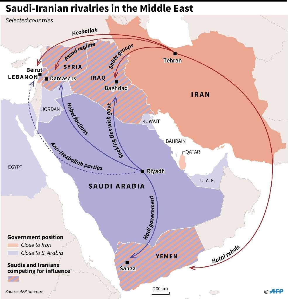 Map of the Middle East showing allies of Saudi Arabia and its rival, Iran, plus selected countries where Riyadh and Tehran are competing for influence (AFP Photo/Gillian HANDYSIDE)