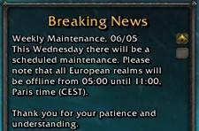 European extended weekly maintenance: 6th May 2009