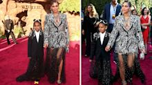 Beyonce and daughter Blue Ivy twin in Alexander McQueen at star-studded Lion King premiere