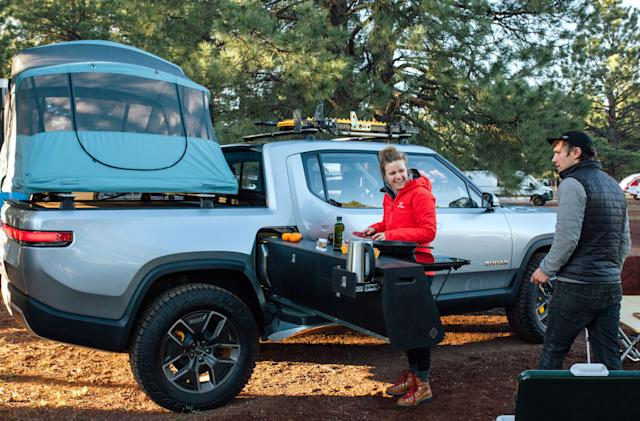 Rivian designed a camp stove add-on for its electric truck