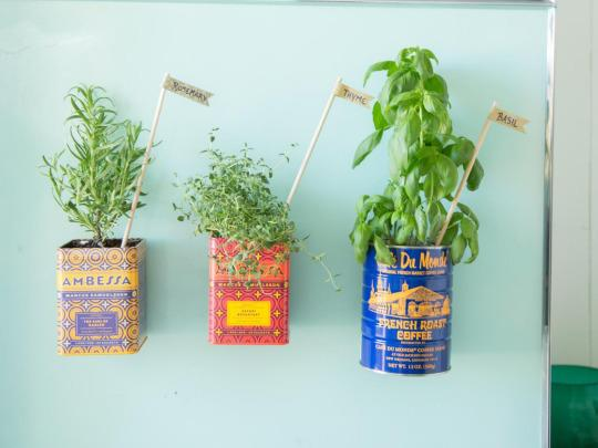 """<p>When you're ready to display your garden, be sure to choose strong magnets. You can usually find these at home improvement stores. Since the tins are metal, there's no need to glue the magnets onto the tins. Simply place the magnets on your fridge and add your freshly-potted herbs. Be sure to place your new herb garden where the plants can get plenty of light, and don't forget to water for plants that will keep on giving. <br><b>RELATED: <a href=""""http://www.hgtv.com/design/decorating/design-101/25-new-ways-to-use-your-old-stuff-pictures?oc=PTNR-YahooMakers-HGTV-fridge_herb_garden"""" rel=""""nofollow noopener"""" target=""""_blank"""" data-ylk=""""slk:25 New Ways to Use Your Old Stuff"""" class=""""link rapid-noclick-resp"""">25 New Ways to Use Your Old Stuff</a></b></p>"""