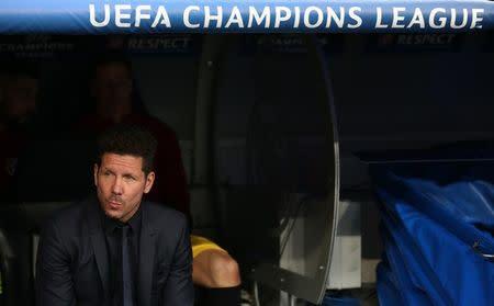 El director técnico del Atlético de Madrid, Diego Simeone, antes del encuentro