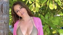 Elizabeth Hurley, 55, stuns on the beach in khaki-green bikini