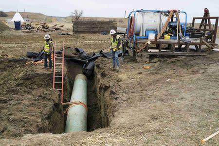 Construction continues on the Dakota Access Pipeline near the town of Cannon Ball, North Dakota, U.S., October 30, 2016. REUTERS/Josh Morgan