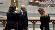 Melania Trump, Michelle Obama, Jenna Bush Hager, and more don black at Barbara Bush memorial