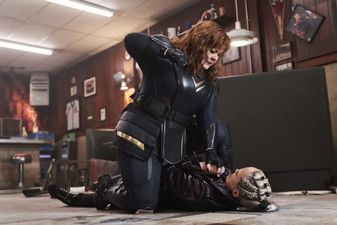 THUNDER FORCE (L-R): MELISSA MCCARTHY as LYDIA, POM KLEMENTIEFF as LASER.