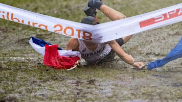 Runner's finish-line celebration fails epically