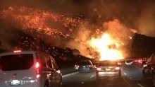 【有片】衝擊影像 美國南加州山火 高速公路地獄繪圖