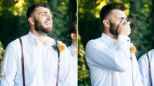 Groom's Emotional Reaction To Seeing His Bride Is Just So Romantic