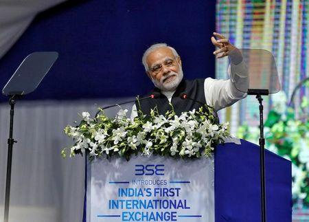 India's PM Modi delivers a speech after he inaugurated the country's first international exchange - India INX in Gujarat International Finance Tec-City (GIFT) in Gandhinagar