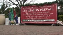 'There are no gods': Group displays anti-religious sign next to nativity scene in public park