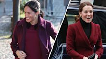Berry hues and velvet trimmings: Kate and Meghan work similar wintry colours for separate outings