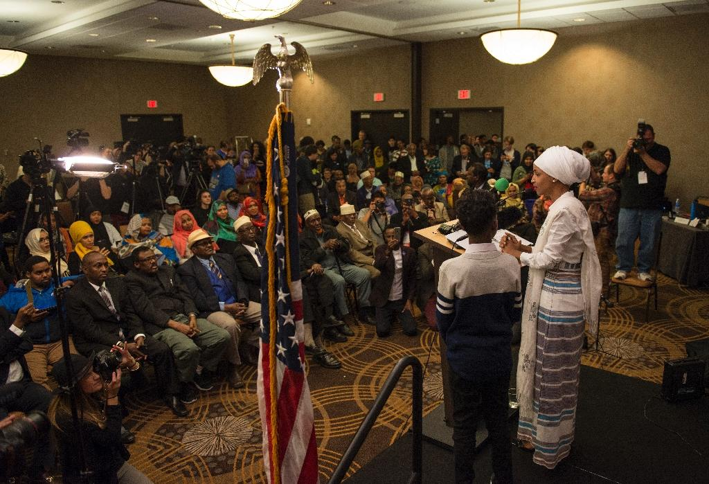 Minnesota State Representative-elect Ilhan Omar's political assent had less to do with her Somali community though, than efforts to broaden her support to include other minority groups, white liberals and college students (AFP Photo/Stephen Maturen)