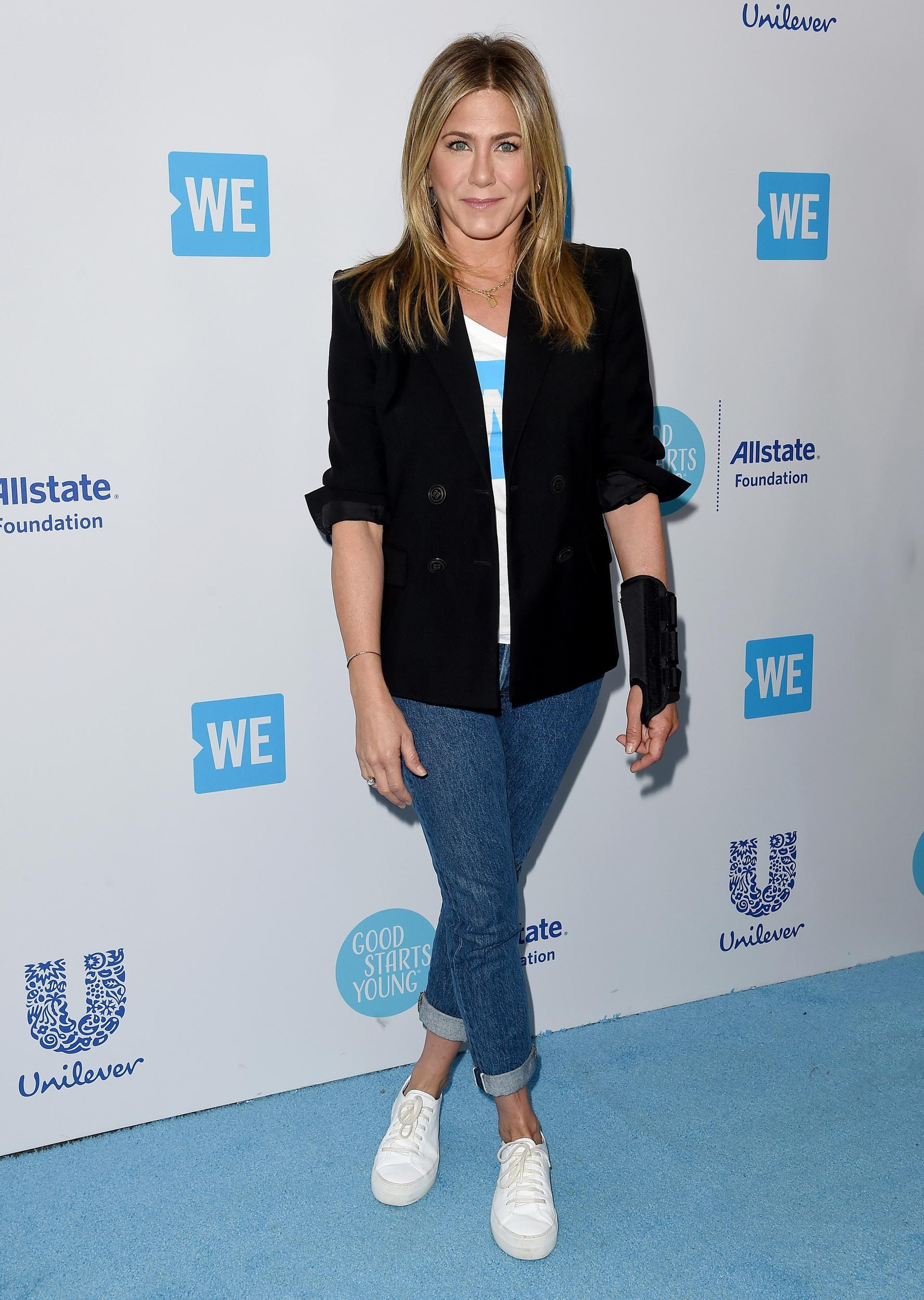 INGLEWOOD, CA - APRIL 19:  Actress Jennifer Aniston attends WE Day California at The Forum on April 19, 2018 in Inglewood, California.  (Photo by Axelle/Bauer-Griffin/FilmMagic)