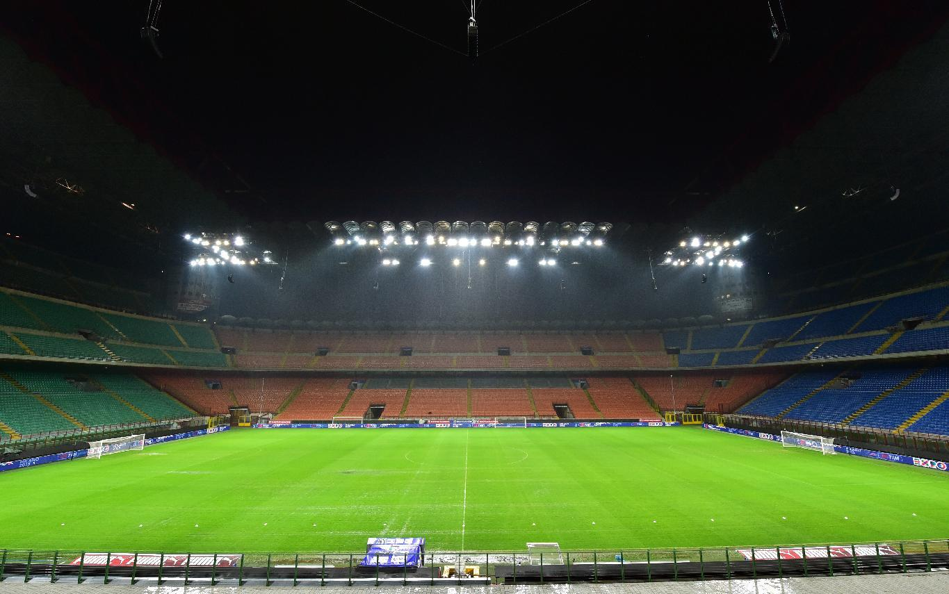 The San Siro stadium in Milan pictured on November 15, 2014 where a training session for Italy's national football team was cancelled due to heavy rain