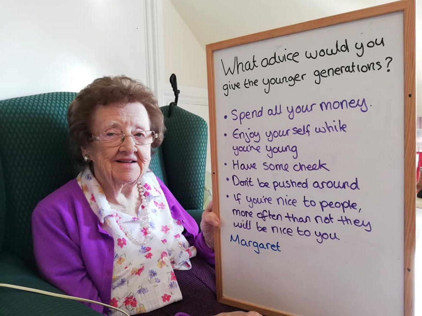 'Spend all your money': Elderly care home residents use boards to offer honest advice to young people