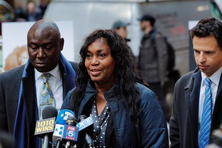 Tamara Lanier speaks to the media about a lawsuit accusing Harvard University of the monetization of photographic images of her great-great-great grandfather, an enslaved African man named Renty, and his daughter Delia, outside of the Harvard Club in New York, U.S., March 20, 2019. REUTERS/Lucas Jackson