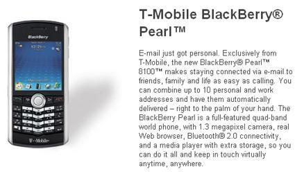 BlackBerry Pearl available on T-Mobile's site