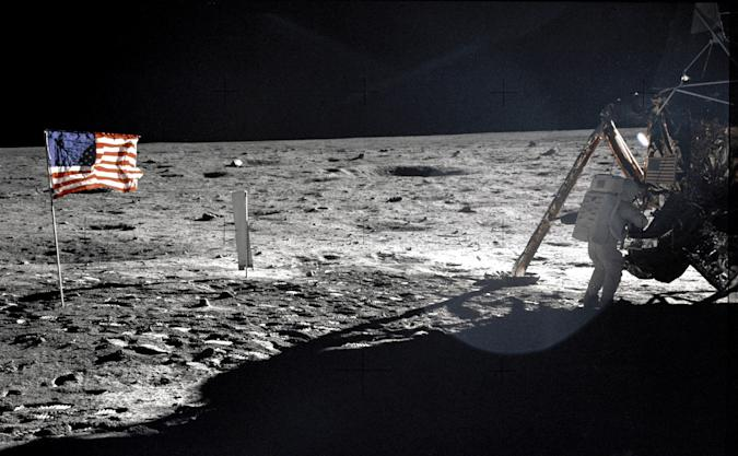 """U.S. astronaut Neil Armstrong, the Apollo 11 Mission Commander, standing next to the Lunar Module """"Eagle"""" on the moon July 20, 1969. REUTERS/Buzz Aldrin-NASA/Handout    (UNITED STATES ANNIVERSARY SCI TECH) FOR EDITORIAL USE ONLY. NOT FOR SALE FOR MARKETING OR ADVERTISING CAMPAIGNS"""