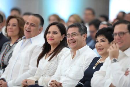 Honduras' President Juan Orlando Hernandez and his wife Ana Garcia attend the XVII Tuxtla Summit in San Pedro Sula