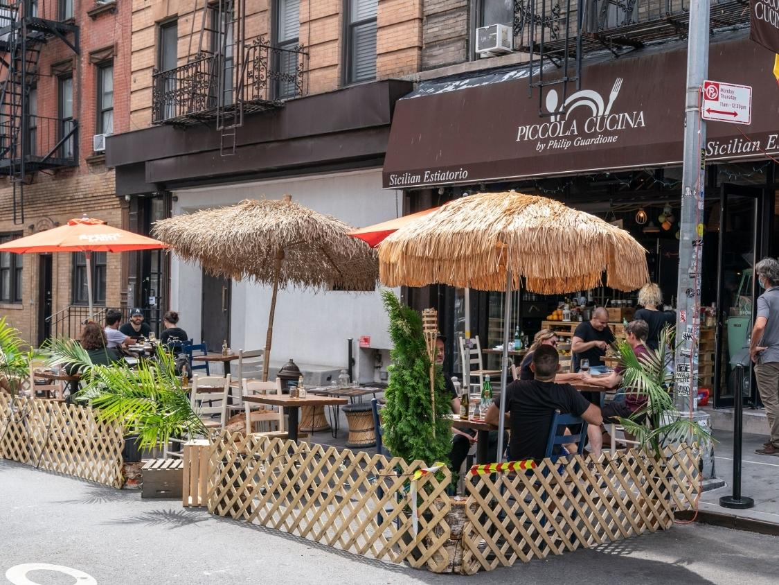 The new streets, mostly in Manhattan, will be car-free weekends starting Friday to give hungry New Yorkers space to chow down.