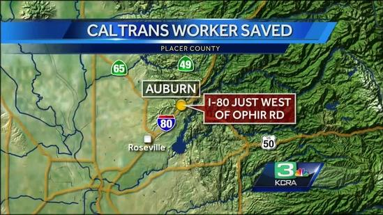 CHP officer protects Caltrans worker in I-80 crash; cruiser totaled
