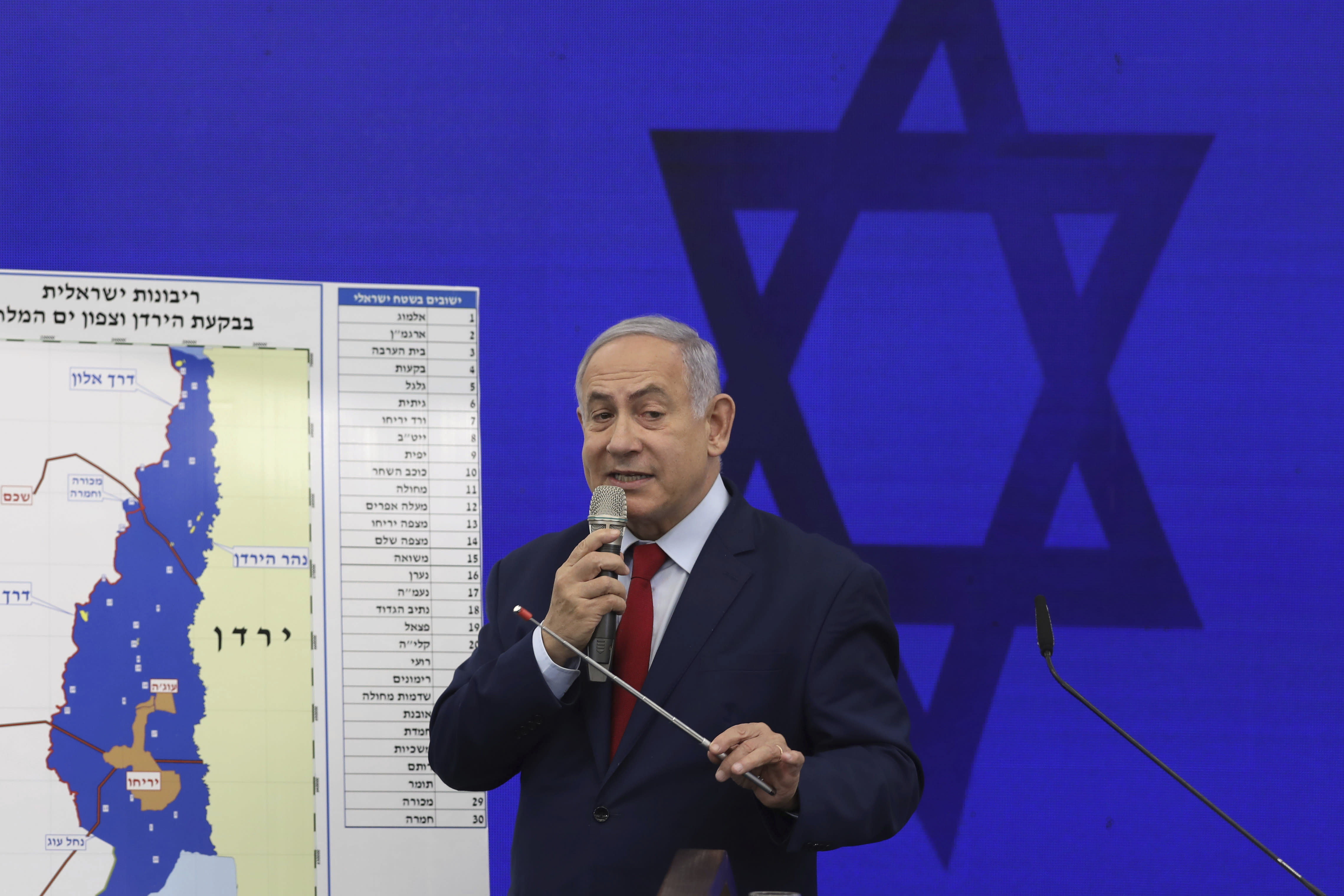 Israeli Prime Minister Benjamin Netanyahu speaks during a press conference in Tel Aviv, Israel, Tuesday, Sept. 10, 2019. Netanyahu vowed Tuesday to begin annexing West Bank settlements if he wins national elections next week. (AP Photo/Oded Balilty)