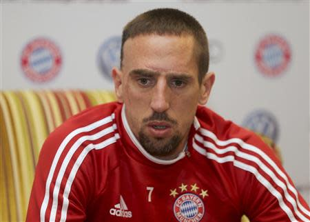 Bayern Munich's Franck Ribery attends a news conference in Doha