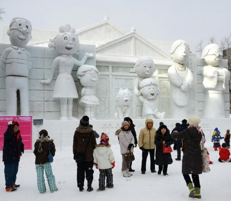 Sazae-san is a hugely popular cartoon that first aired in 1969 in Japan, where its characters have been featured at the annual Sapporo snow festival (AFP Photo/TAKASHI NOGUCHI)