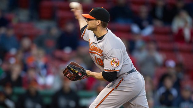Chris Davis takes the mound and strikes out two Red Sox