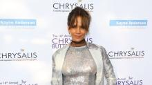 Halle Berry Shines in Sequins on the Chrysalis Purple Carpet