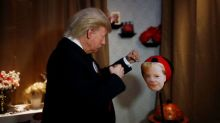 Trump 'live figure' thumps Merkel at Berlin's Madame Tussauds