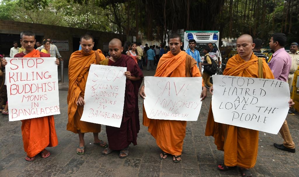 Indian Buddhist monks protest in Mumbai on May 23, 2016, against the hacking to death of a Buddhist monk earlier in the month in Bangladesh (AFP Photo/Indranil Mukherjee)