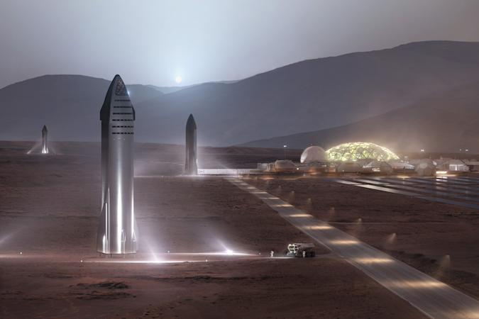 SpaceX Starships at a concept Mars base