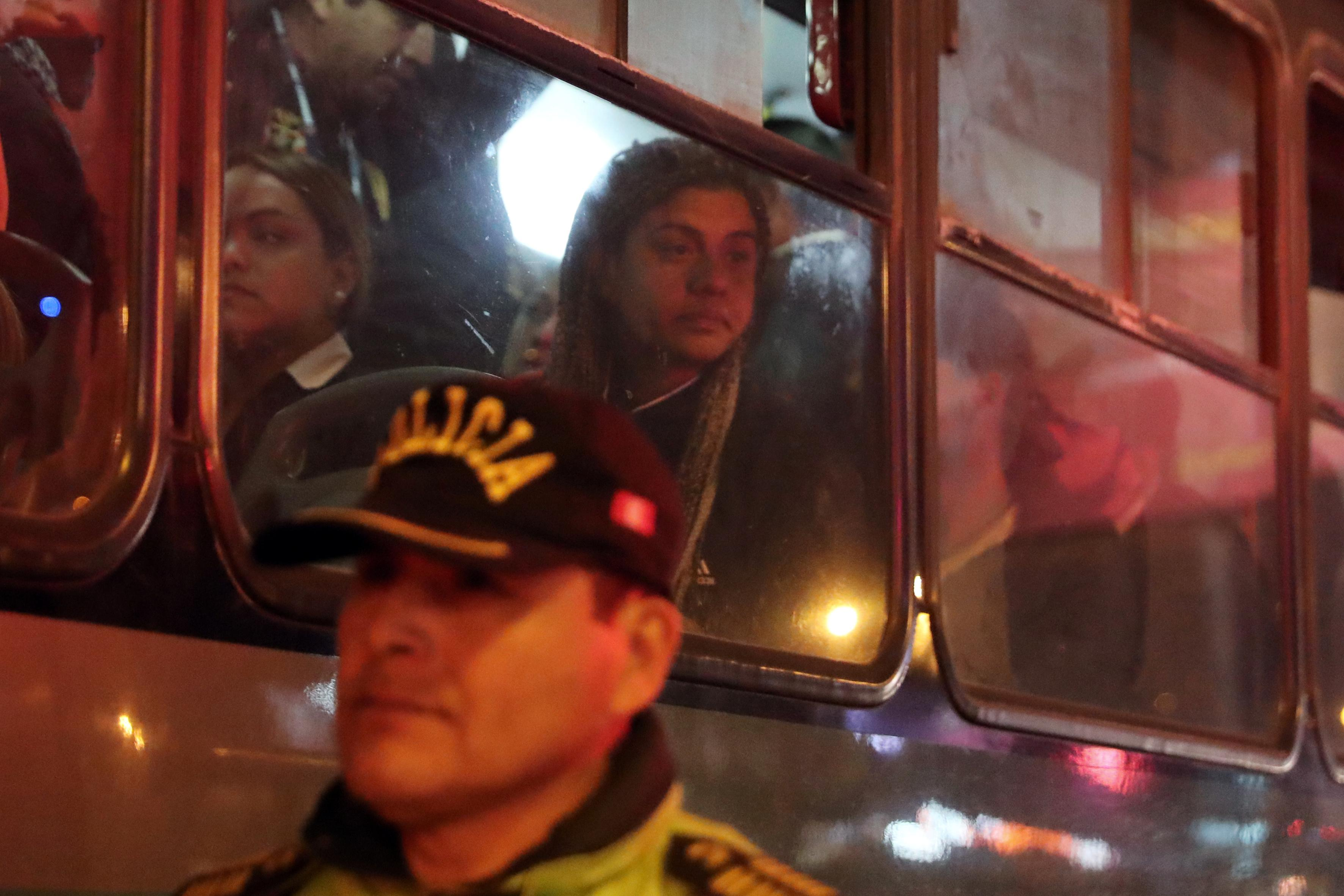 <p>A detained Venezuelan migrant waits on a bus to be transported to Los Olivos district in Lima, Peru, Aug. 17, 2018. (Photo: Guadalupe Pardo/Reuters) </p>