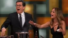 Stephen Colbert cuts finger while cooking with Giada De Laurentiis