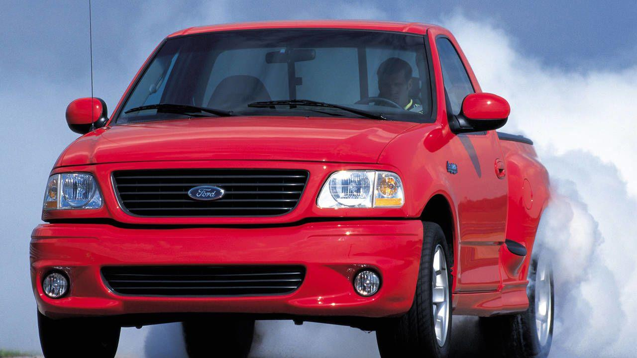 "<p>Ford decided it would be a good idea to plop a supercharged V-8 under the hood of the mid-1990s F-150, creating the SVT Lightning. The result was a tire-smoking 380 horsepower and 450 lb-ft of torque, and a blistering 5.2-second 0-60 time. <a href=""https://www.ebay.com/itm/2000-Ford-F-150-SVT-Lightning/164281127704?hash=item263feb1318:g:la4AAOSw2QZe7tAx"" rel=""nofollow noopener"" target=""_blank"" data-ylk=""slk:Here's one"" class=""link rapid-noclick-resp"">Here's one</a> up for bidding right now on eBay. </p>"