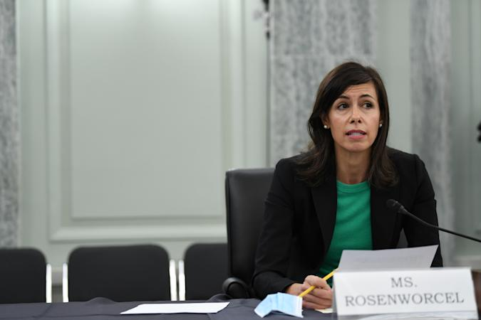 Jessica Rosenworcel answers a question during an oversight hearing held by the U.S. Senate Commerce, Science, and Transportation Committee for the Federal Communications Commission (FCC), in Washington, U.S. June 24, 2020.    Jonathan Newton/Pool via REUTERS