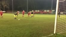 Here's the most outrageous penalty kick you've ever seen